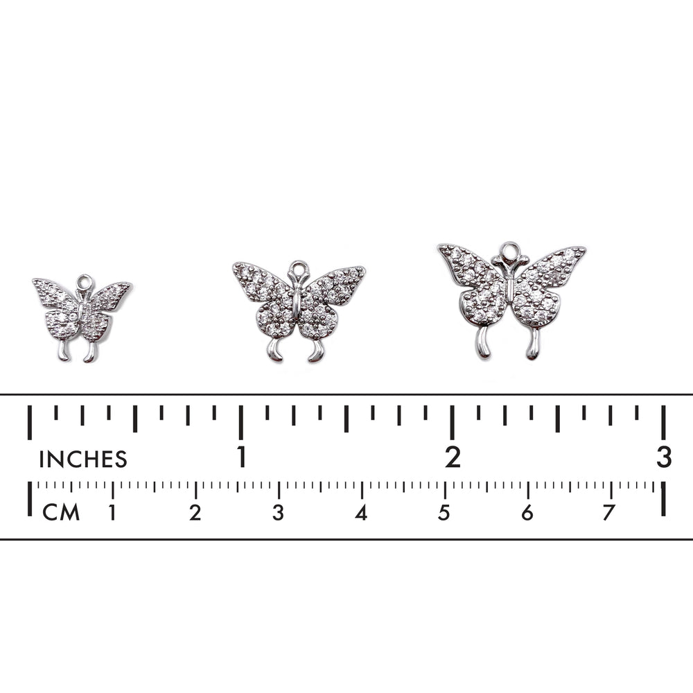 MP3916 Cubic Zirconia Butterfly Charm/Pendant CHOOSE COLOR BELOW