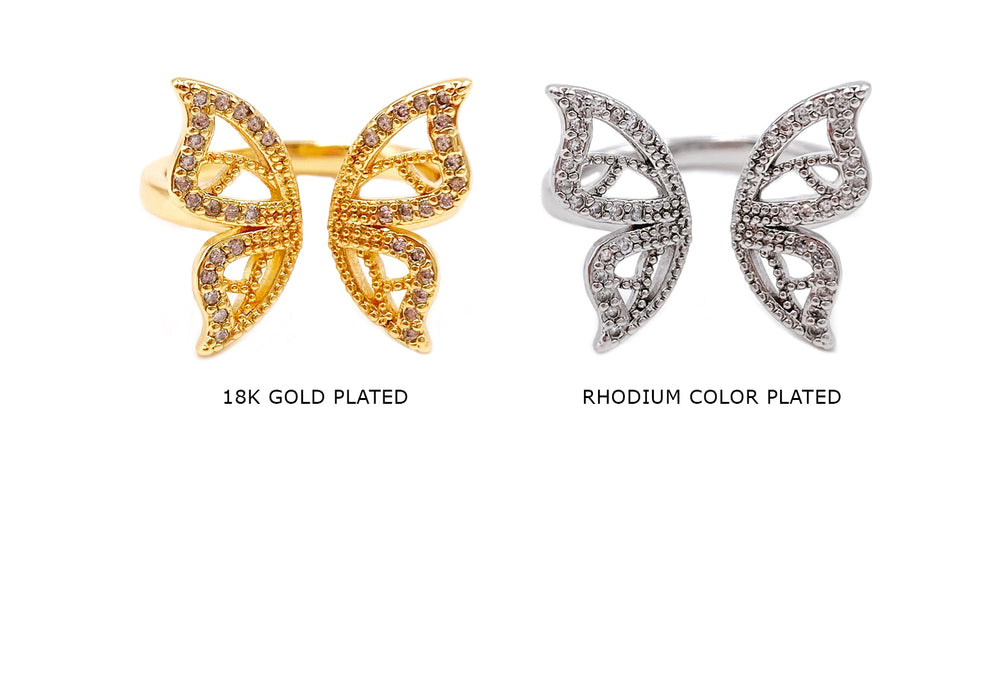 MP3989 Cubic Zirconia Butterfly Ring CHOOSE COLOR BELOW