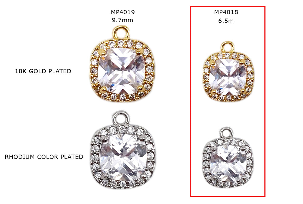 MP4018 Rounded Square 6.5MM Cubic Zirconia Pendant/Charm CHOOSE COLOR BELOW