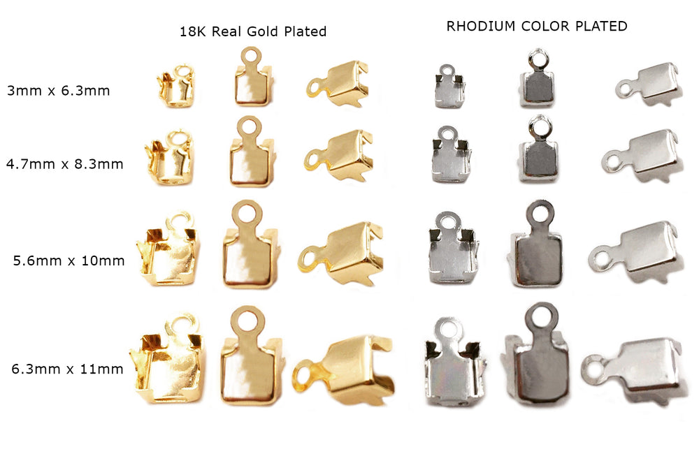 MPJC1002-5 Brass Foldover Cup Chain Clasp CHOOSE COLOR, SIZE BELOW