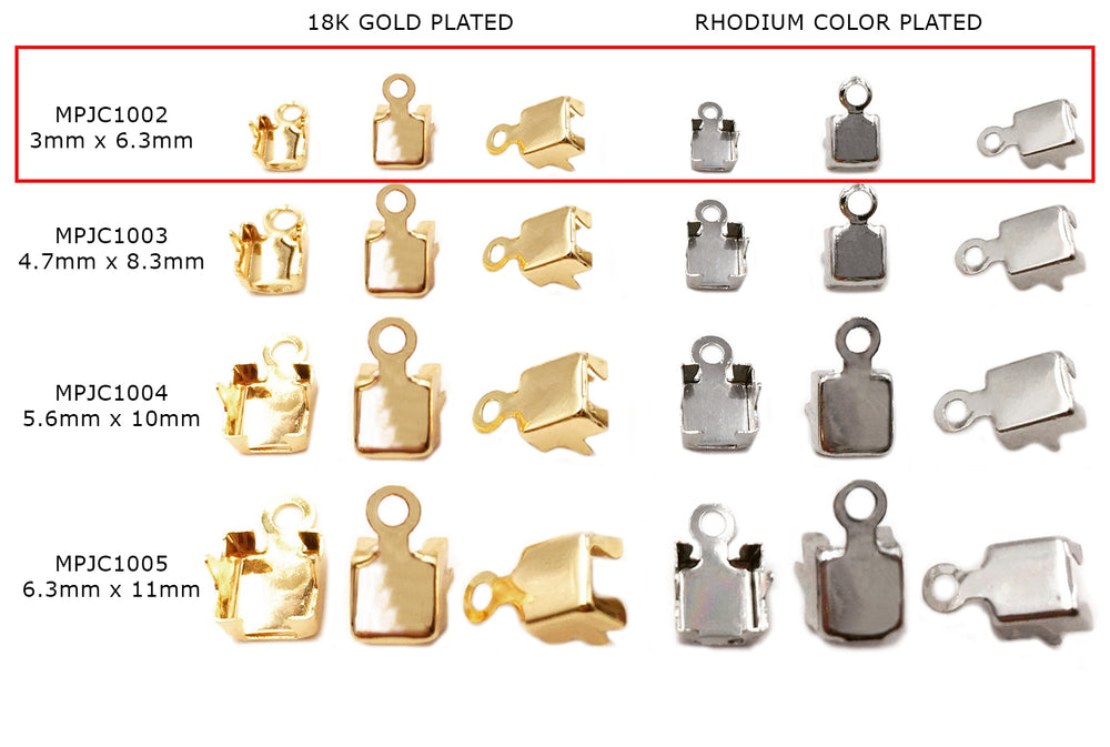 MPJC1002 Brass Foldover Cup Chain Clasp 3mmx6.3mm CHOOSE PACK BELOW