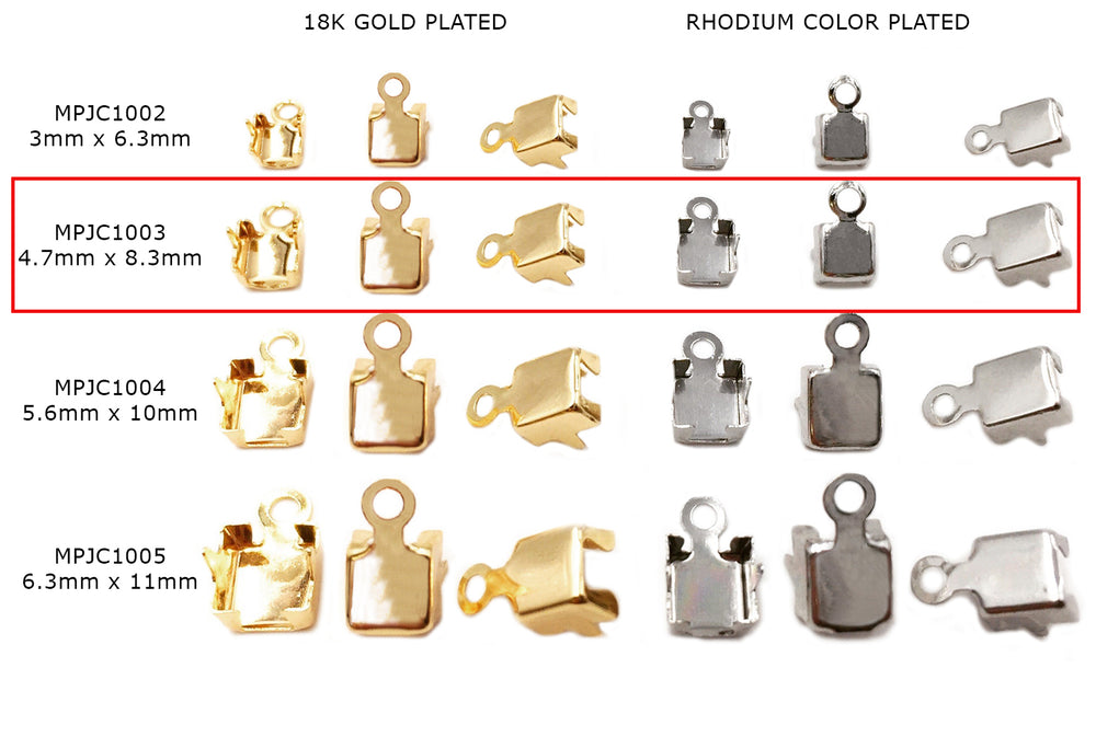 MPJC1003 Foldover Cup Chain Clasp 4.7mmx8.3mm CHOOSE COLOR, PACK BELOW