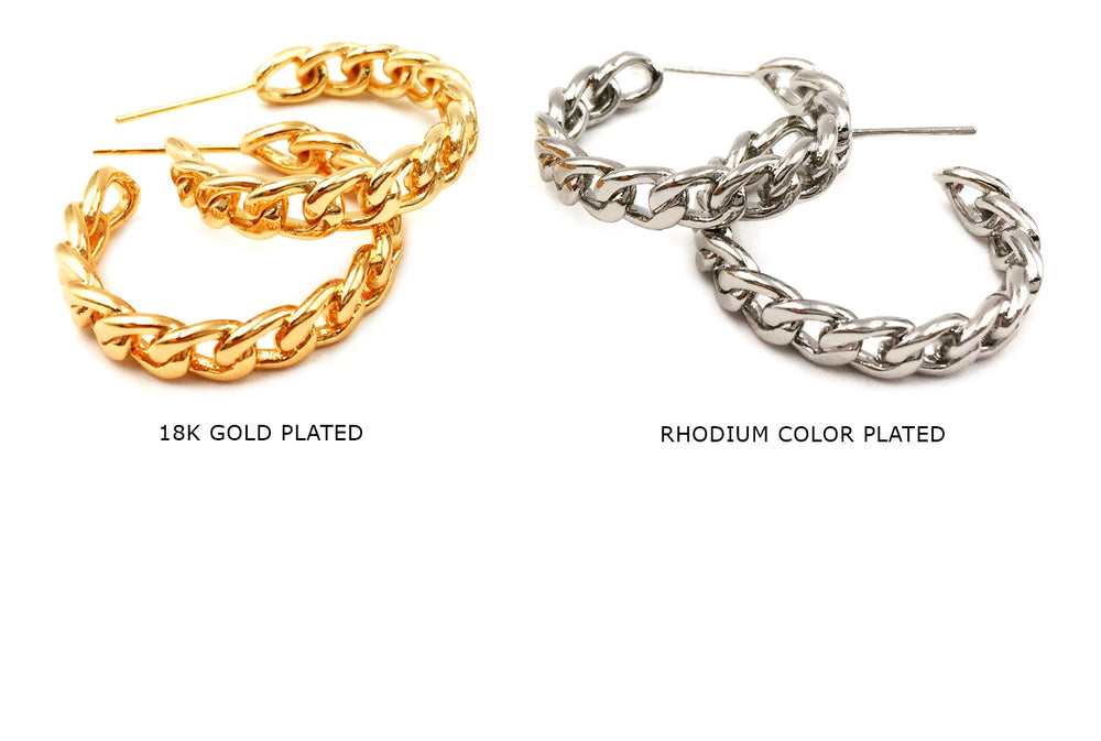MP3831 Chain Hoop Earring 24mm CHOOSE COLOR BELOW
