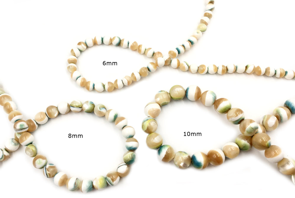 SP1052.53.54 Round Shell Bead 6mm, 8mm, 10mm CHOOSE SIZE BELOW
