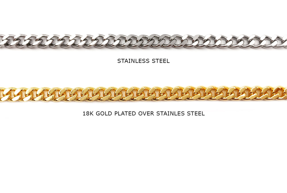 SSC1014 Stainless Steel Diamond Cut Curb chain CHOOSE COLOR BELOW