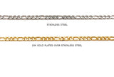SSC1018 Stainless Steel Figaro Chain CHOOSE COLOR BELOW