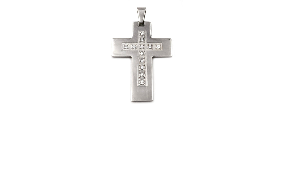 SSP1039-13 Stainless Steel Cross With Crystals Pendant