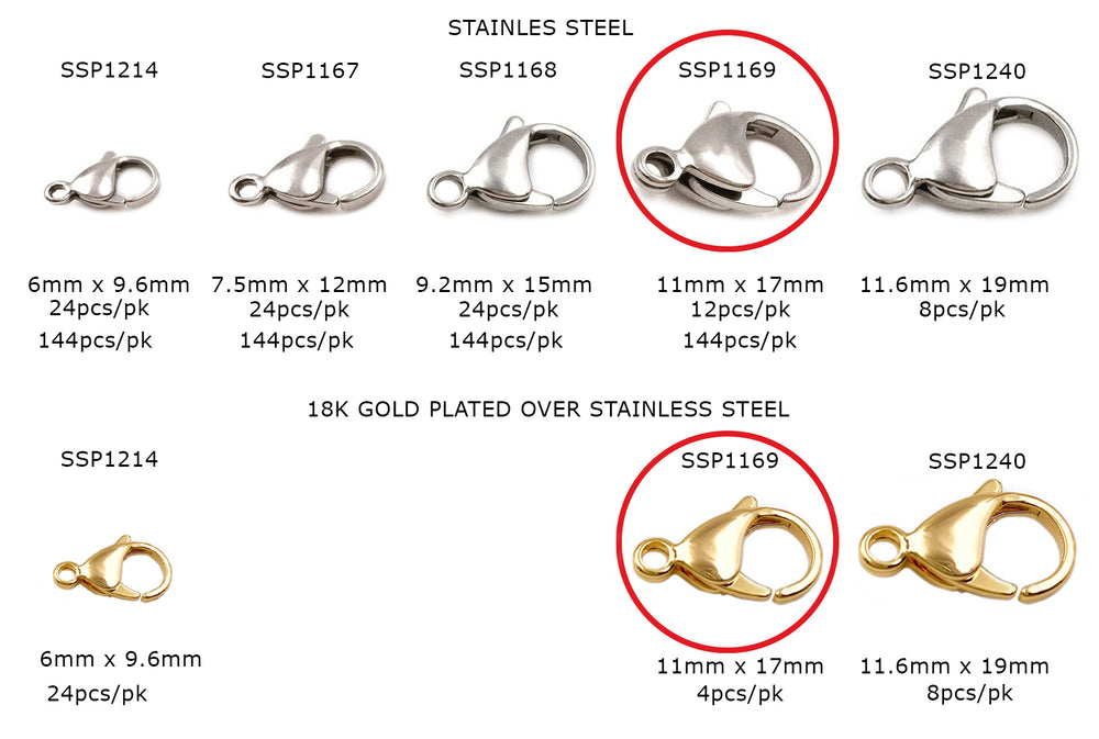 SSP1169  Stainless Steel Clasp CHOOSE SIZE COLOR & PACK BELOW