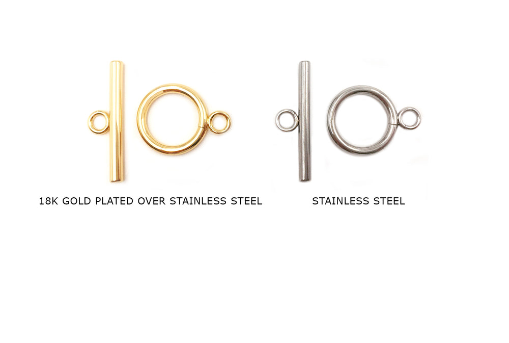 SSP1208 Plain Toggle Clasp 15mm CHOOSE COLOR BELOW