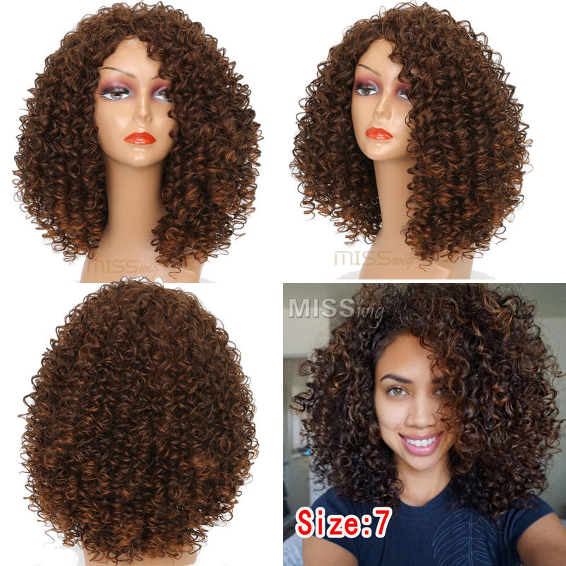 MISS WIG 16Inches Long Afro Kinky Curly Wigs for Black Women Blonde ... 3a10b87112
