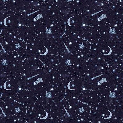 Dark blue background with shootng stars, moons and fireflies