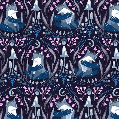 Foxes - Indigo $11.75/ Yard