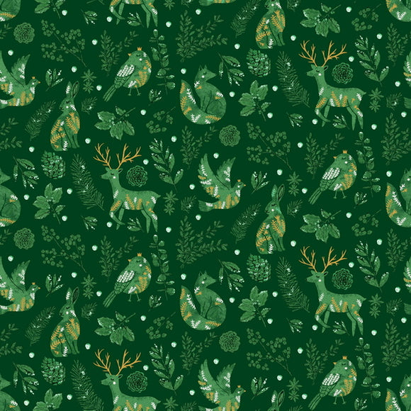 Winter Gathering - Spruce Metallic $12.25/ Yard