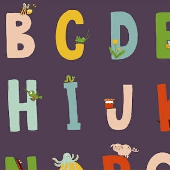 Kinder - Alphabet Purple $11.49/  Yard