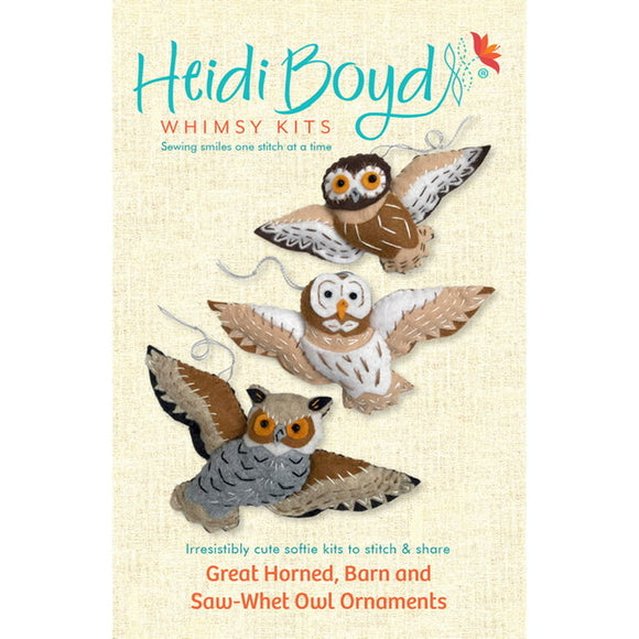 Great Horned, Barn and Saw-Whet Owl Ornaments