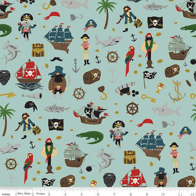 Pirate Tales Scatter - Blue $11.75 / Yard