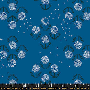 Ruby Star Society - Blue Raspberry Flowers $12.99/ Yard