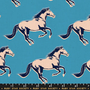 Ruby Star Society - Vintage Blue Stallions $12.99/ Yard