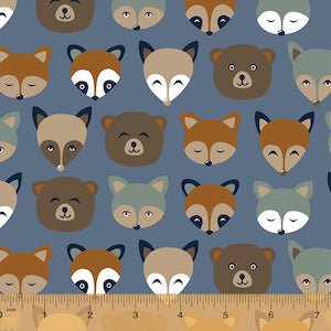 Forest Animals - Slate - Flannel $10.99/ Yard
