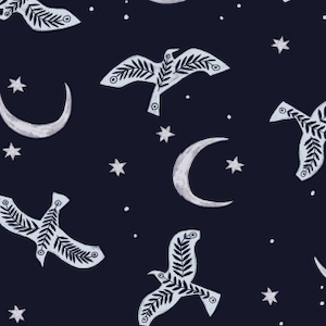 Moon birds fabric. White block printed birds and cresant moons with stars printed on a deep purple fabric