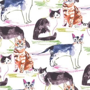 Meows it Going? - White $11.75 / Yard