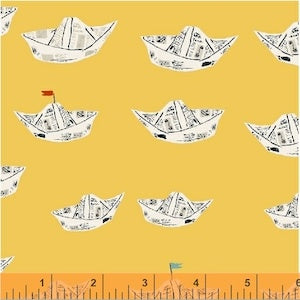 Newspaper Boats - Yellow $11.75/ Yard