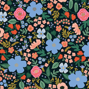 Wild Rose - Black - Rayon $16.25/ Yard