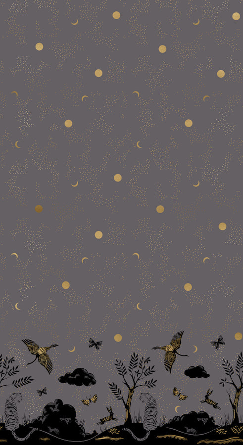 Tiger Fly Panel Chrysalis Border Print- Metallic Slate Grey  $12.99/yard