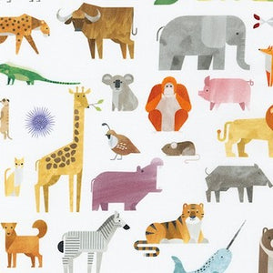 A to Z Animals - White $11.75/ Yard