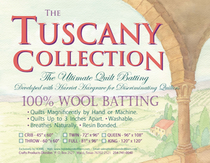 Tuscany Wool Quilt Batting -  Twin Size 72in x 96in  - Pick Up Only