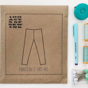 A photo of the packaging of pants no. 2 sewing pattern by 100 Acts of Sewing