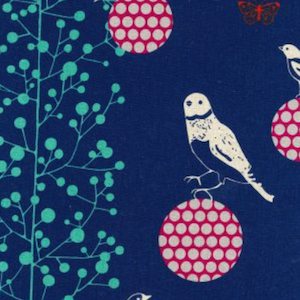Japanese Linen: Bird on the Ball Blue 20.99/yd