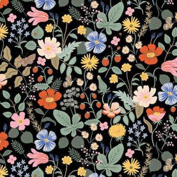 Strawberry Fields - Black Rayon $15.49/ Yard
