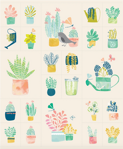 cactus, succulents, birds and watering cans together as a panel of fabric on a peach background