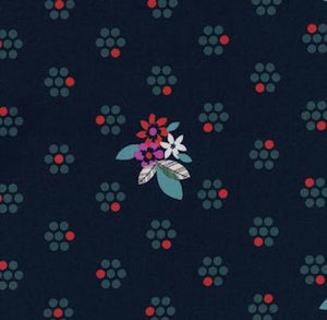 Fruit Blossoms - Navy $11.75/ Yard