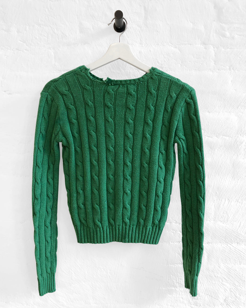 Shrunken Cable Sweater - Kelly Green