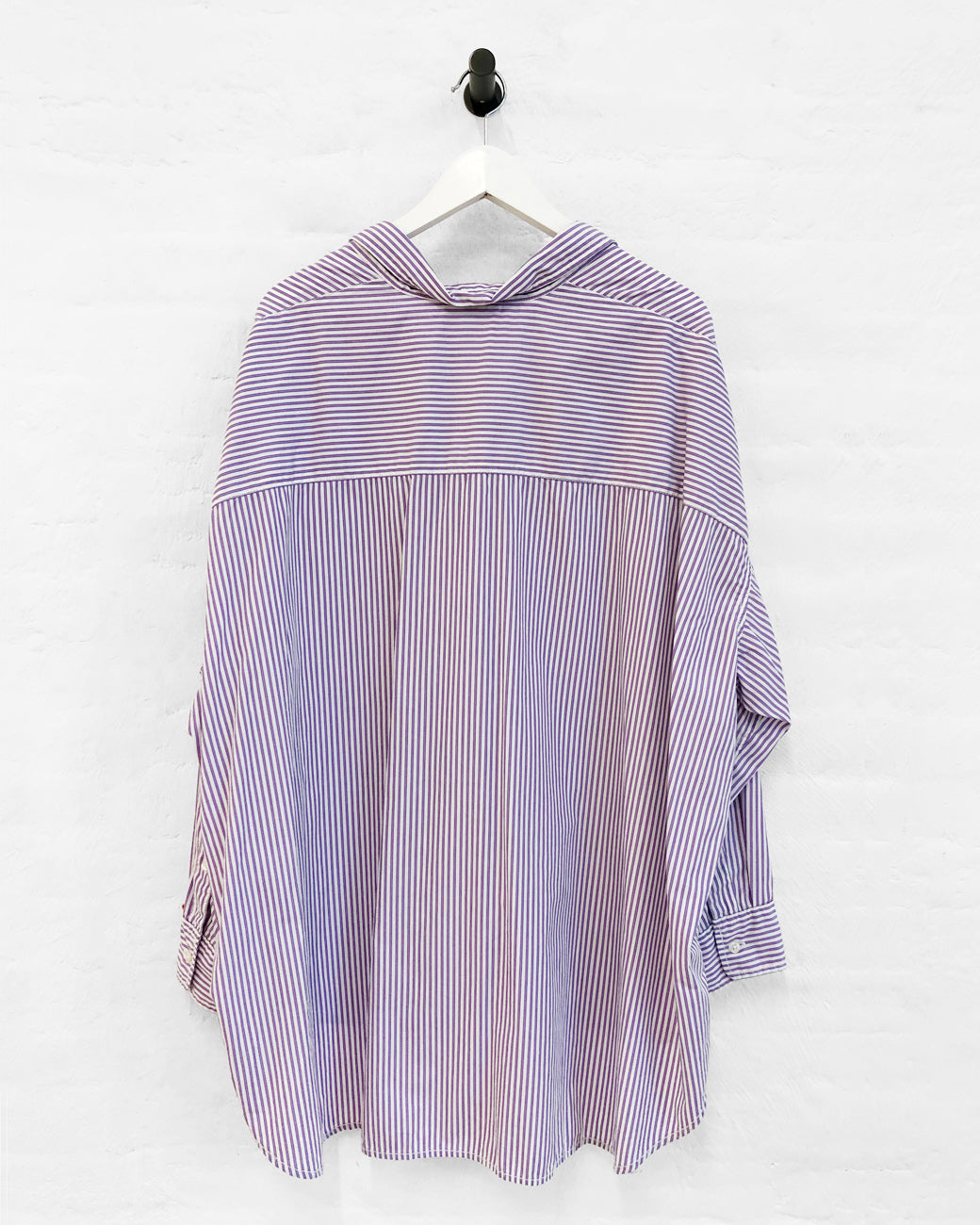 Button Front Shirt - Purple Candy Stripe