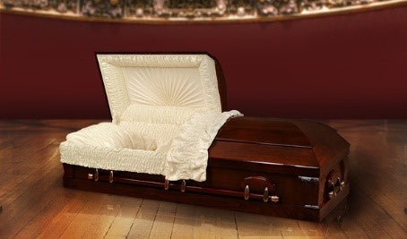 Harbor Caskets - The Harbor Poplar. Casket in Mahogany - Solid Poplar Hardwood Casket - Comes with Gloss Finish, Swing Bars, a Crepe Interior, and an Adjustable Bed.