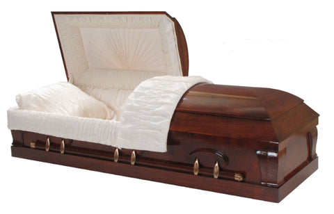 Titan Casket - The Titan Poplar Series Casket in Mahogany - Solid Poplar Hardwood Casket - Comes with Gloss Finish, Swing Bars, a Crepe Interior, and an Adjustable Bed.