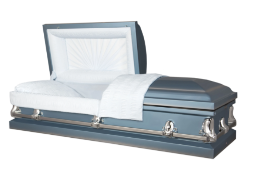 The Titan Orion Series Steel Casket in Light Blue