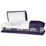 Titan Casket Satin Series Royal Purple with White Crepe Interior
