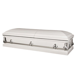 Titan Orion Series Steel Casket White Closed View