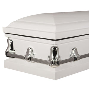 Titan Orion Series Steel Casket White Foot Angle View