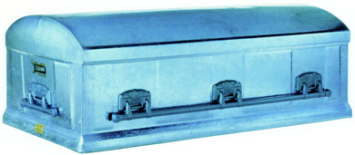 Enhanced Series Burial Vault | Blue GALVANIZED Steel | 12-Gauge - Titan Casket