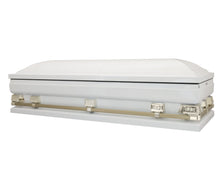 "Load image into Gallery viewer, Titan Atlas XL | White and Gold Steel Oversize Casket with White Interior |  150+ Head Panel Options | 28"", 29"", 33"", 36"" - Titan Casket"
