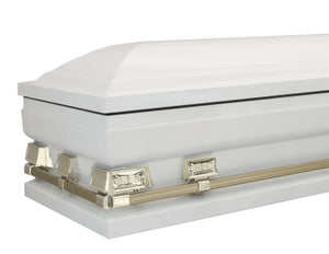 "Titan Atlas XL | White and Gold Steel Oversize Casket with White Interior | 28"", 29"", 33"", or 36"" sizes available End Angle"
