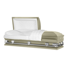 "Load image into Gallery viewer, Atlas XL | Almond Steel Oversize Casket with White Interior | 150+ Head Panel Options | 28"", 29"", 33"", 36"" - Titan Casket"