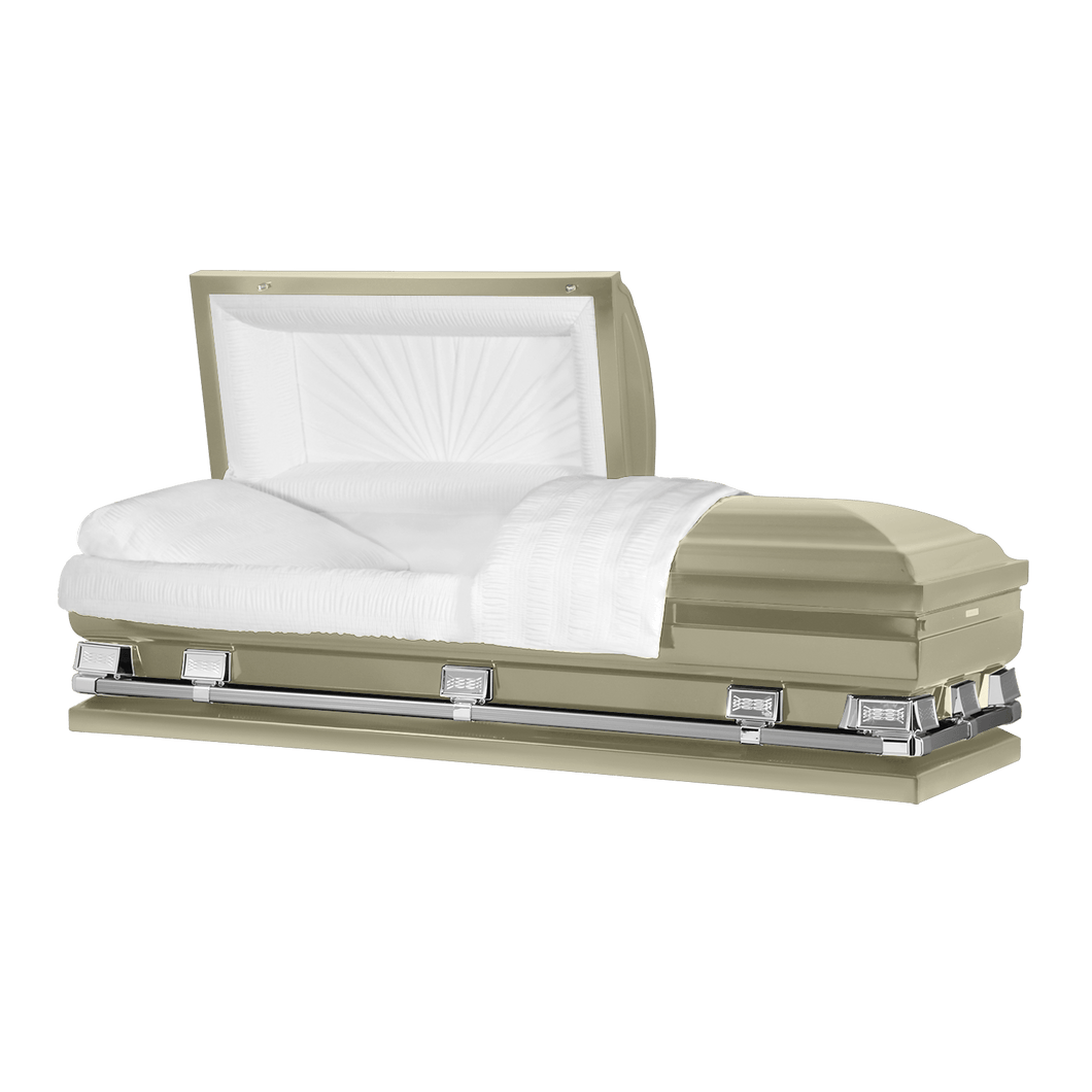 Atlas XL | Almond Steel Oversize Casket with White Interior | 150+ Head Panel Options | 28