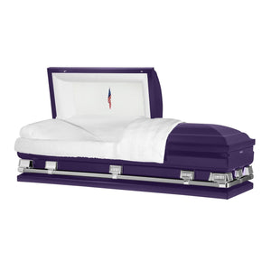 "Titan Atlas XL | Royal Purple Steel Oversize Casket with White Interior | 150+ Head Panel Options | 28"", 29"", 33"", 36"", 40"", 44"" - Titan Casket"