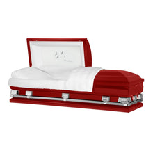 "Load image into Gallery viewer, Titan Atlas XL | Red Steel Oversize Casket with White Interior | 150+ Head Panel Options | 28"", 29"", 33"", 36"" - Titan Casket"